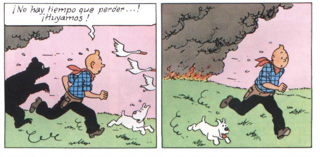 Tintin huye en incendio en Tintin en America